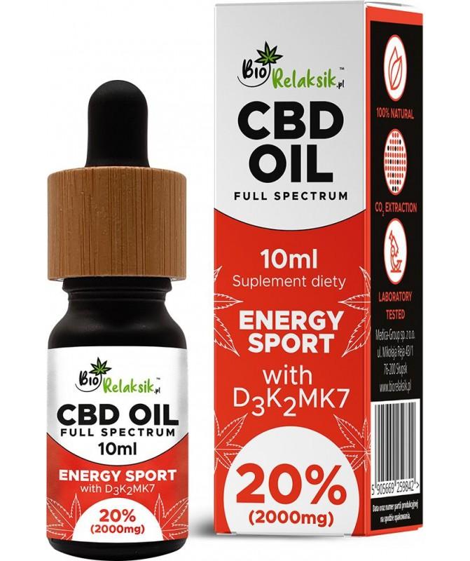 Olejek konopny 20% CBD z D3 + K2Mk7 Energy Sport